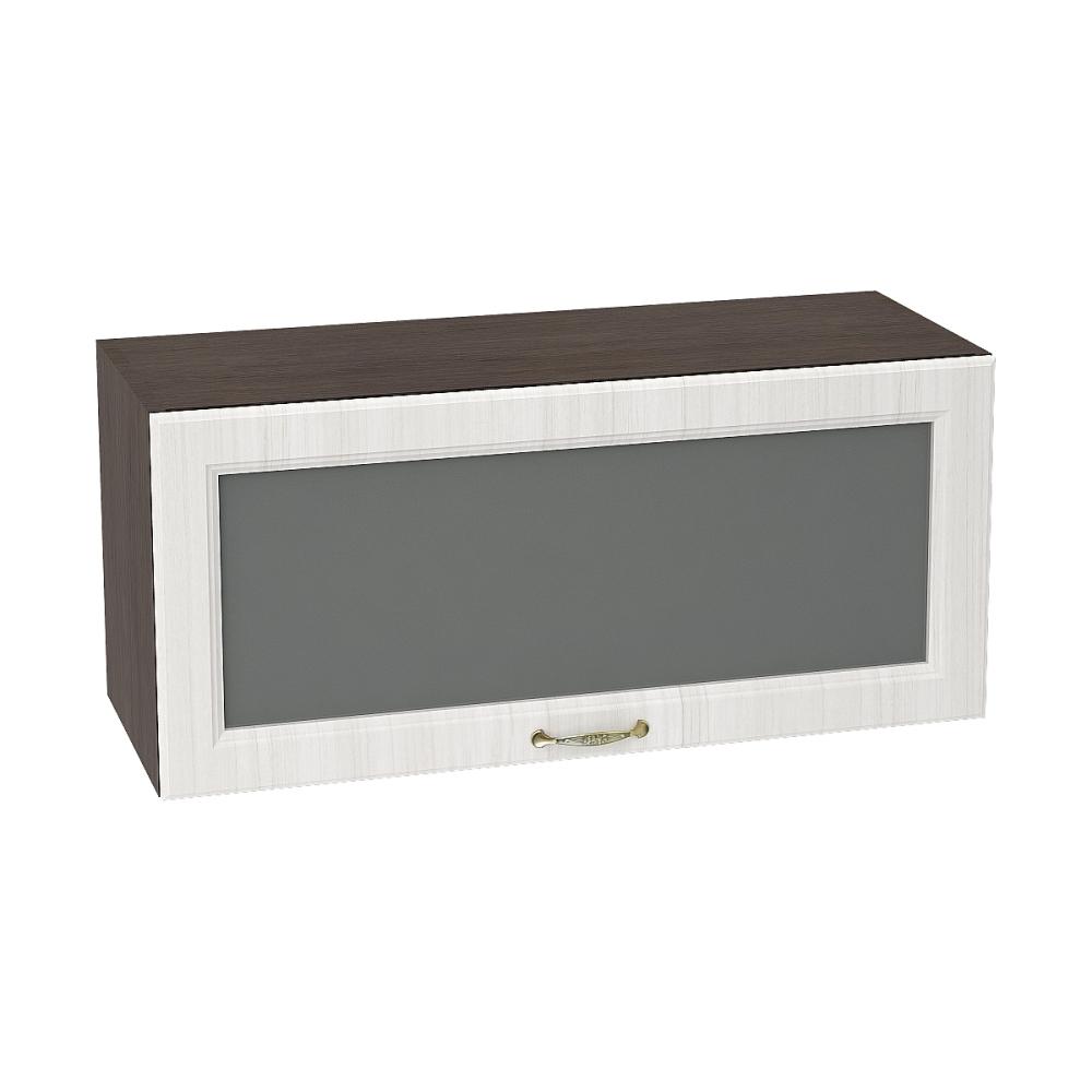 Шкаф верхний горизонтальный со стеклом ШВГС 800 ВИКТОРИЯ (Сандал белый) 800 мм