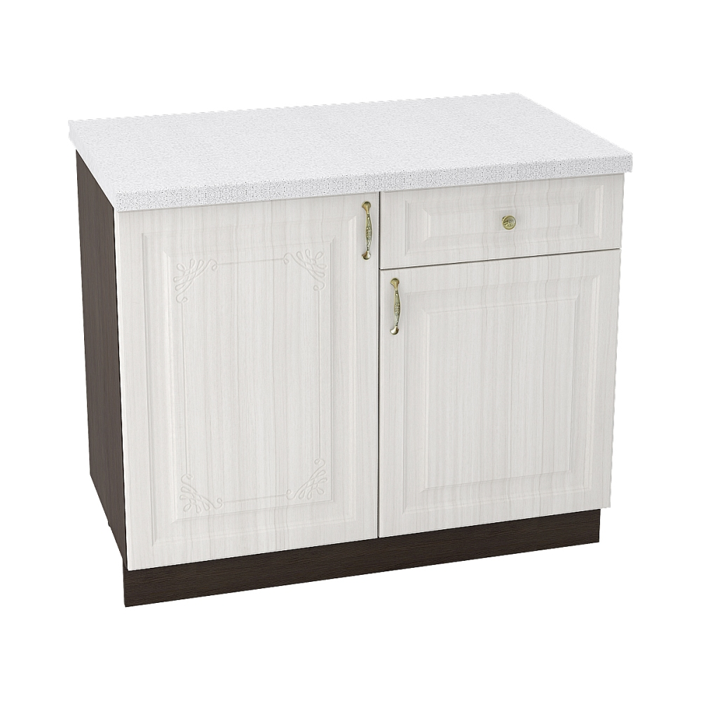 Шкаф нижний с 1 ящиком ШН1Я 1000 ВИКТОРИЯ (Сандал белый) 1000 мм