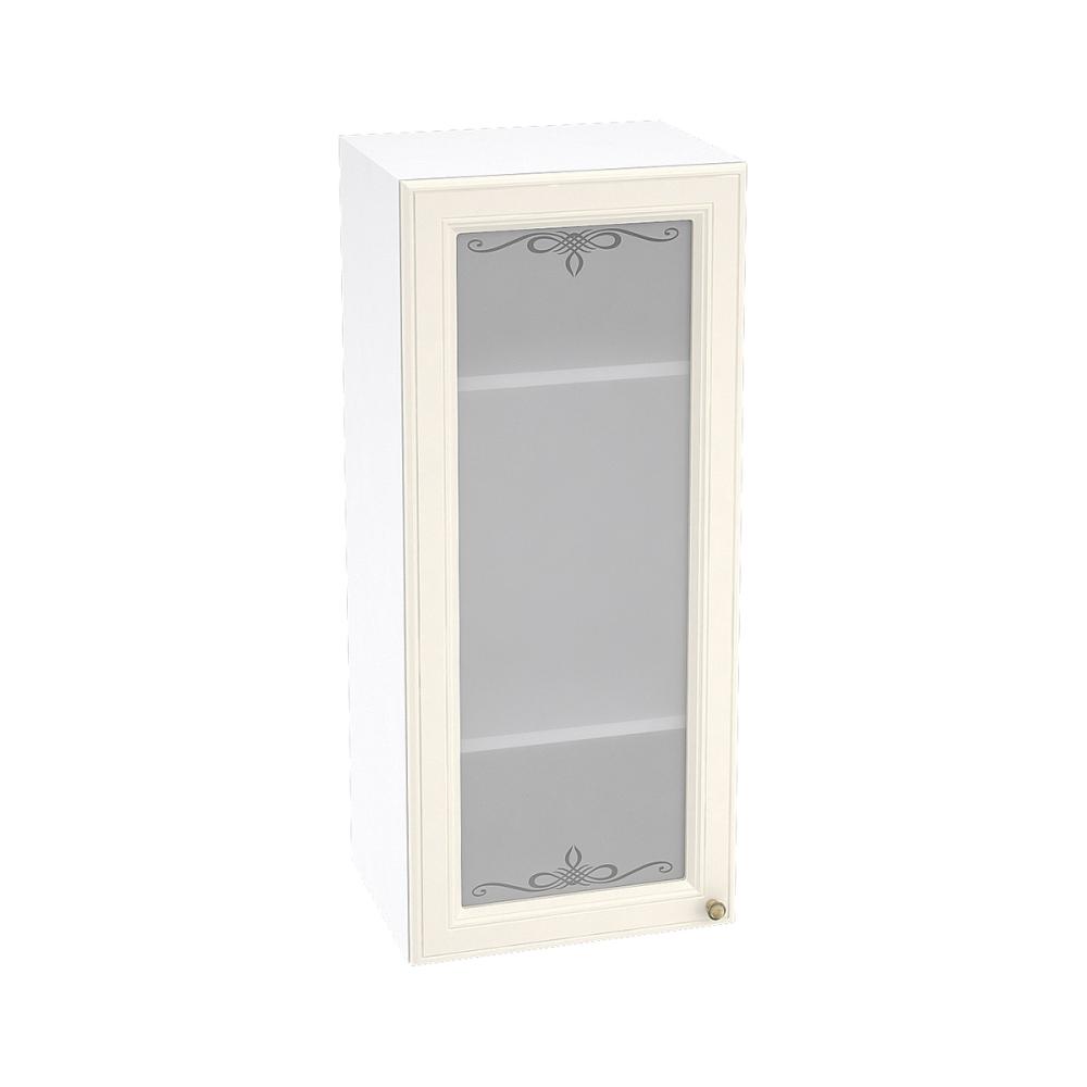 Шкаф верхний со стеклом высокий ШВС 409 ВЕРСАЛЬ (Ваниль софт) 400 мм