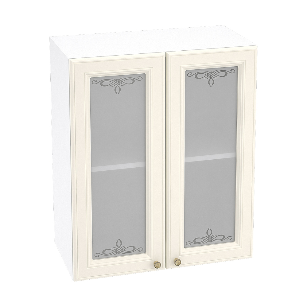 Шкаф верхний со стеклом ШВС 600 ВЕРСАЛЬ (Ваниль софт) 600 мм