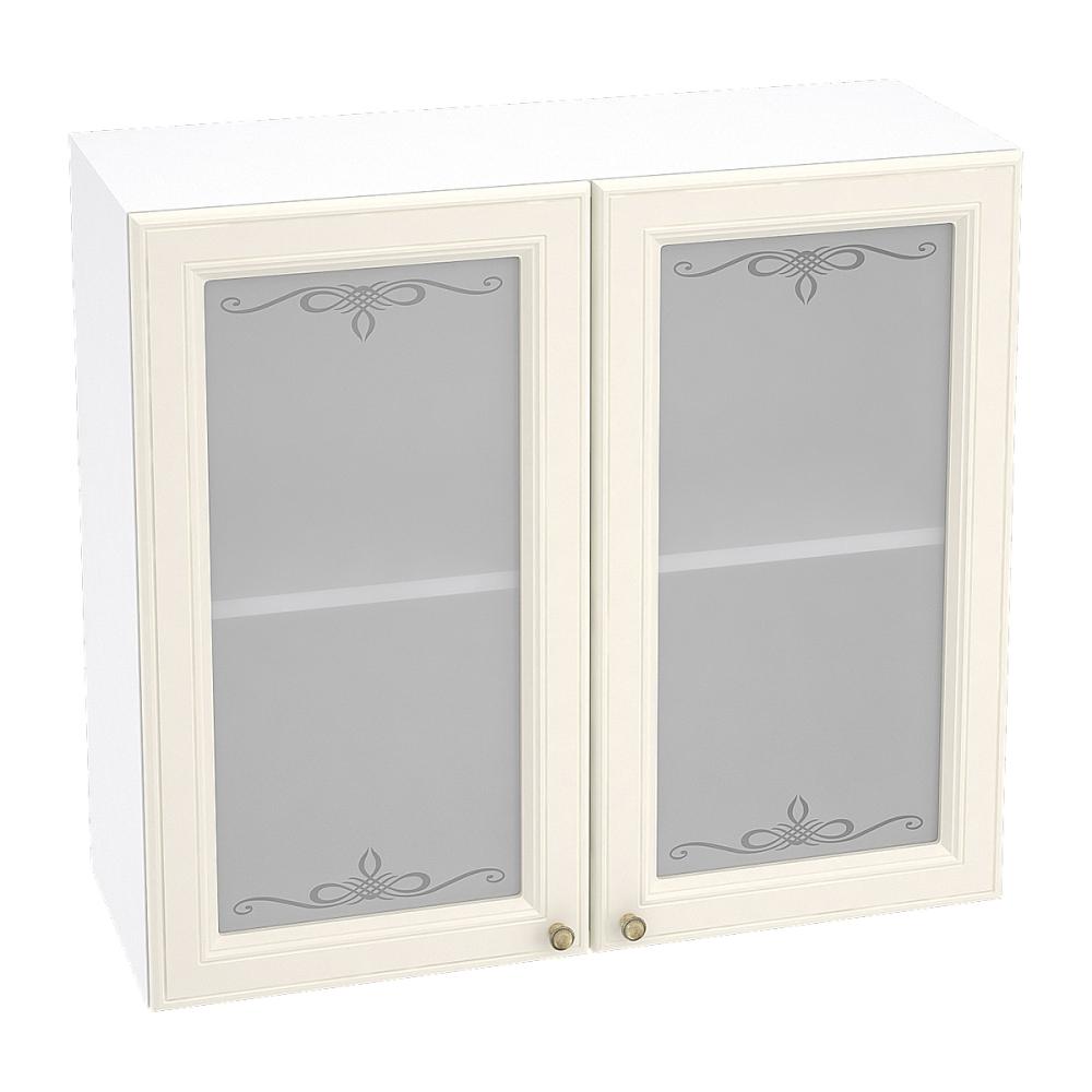 Шкаф верхний со стеклом ШВС 800 ВЕРСАЛЬ (Ваниль софт) 800 мм