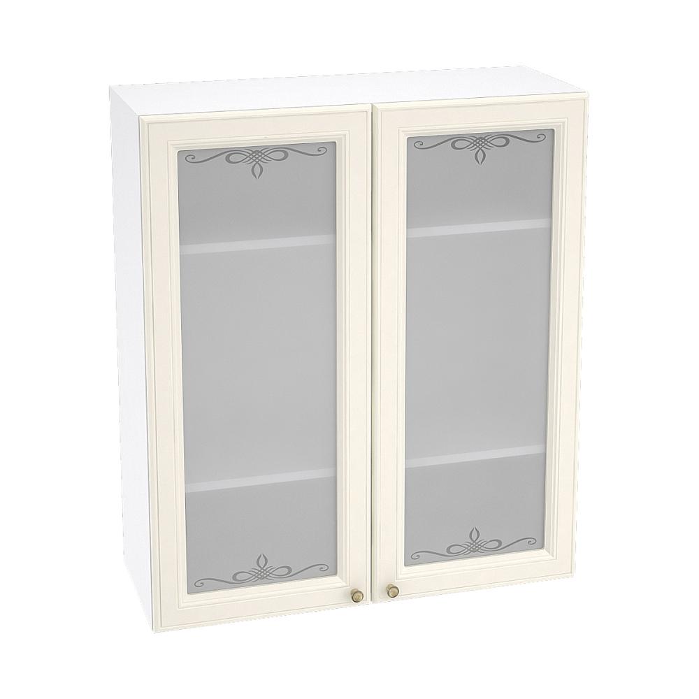 Шкаф верхний со стеклом высокий ШВС 809 ВЕРСАЛЬ (Ваниль софт) 800 мм