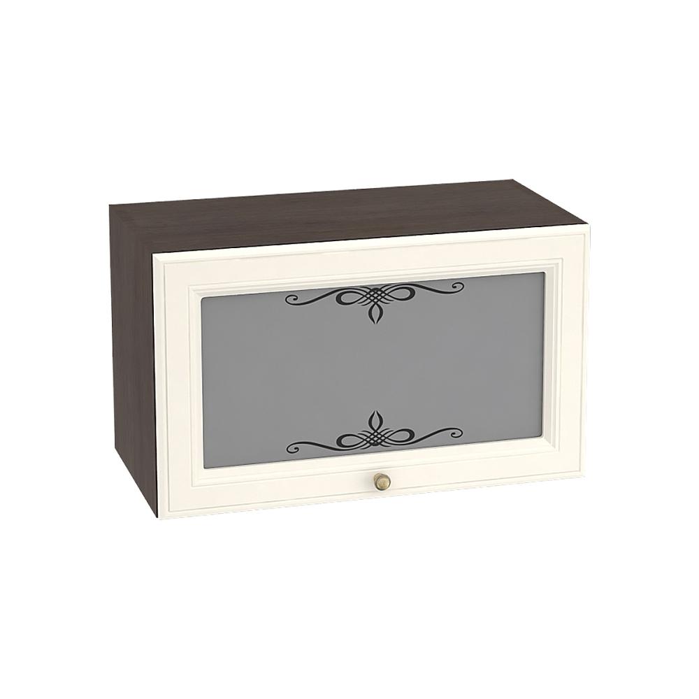 Шкаф верхний горизонтальный со стеклом ШВГС 600 ВЕРСАЛЬ (Ваниль софт) 600 мм