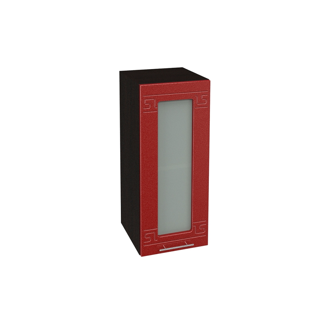 Шкаф верхний со стеклом ШВС 300 ГРЕЦИЯ (Гранатовый металлик) 300 мм