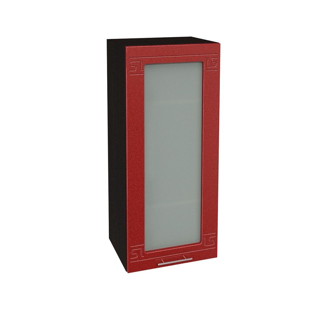 Шкаф верхний со стеклом высокий ШВС 409 ГРЕЦИЯ (Гранатовый металлик) 400 мм