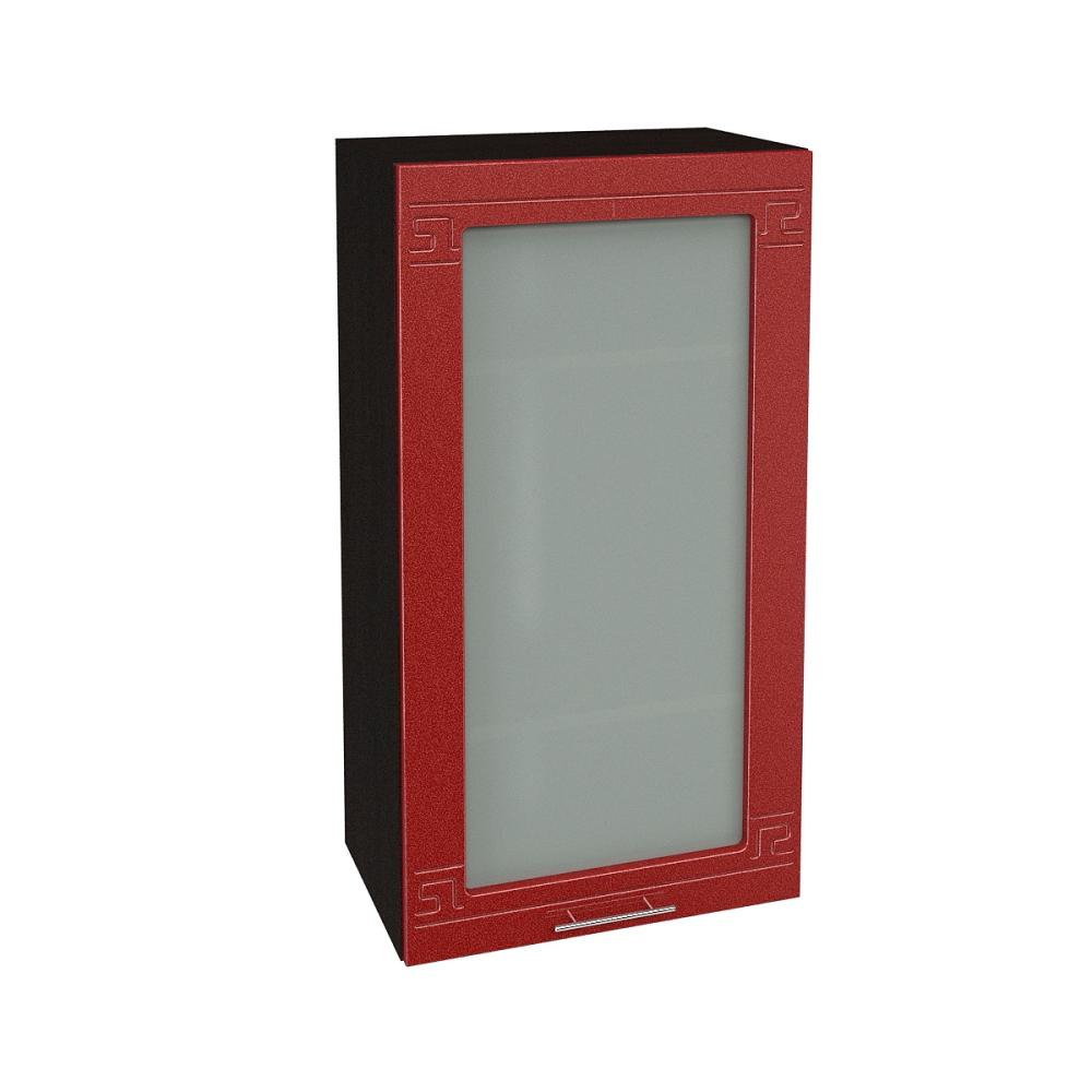 Шкаф верхний со стеклом высокий ШВС 509 ГРЕЦИЯ (Гранатовый металлик) 500 мм