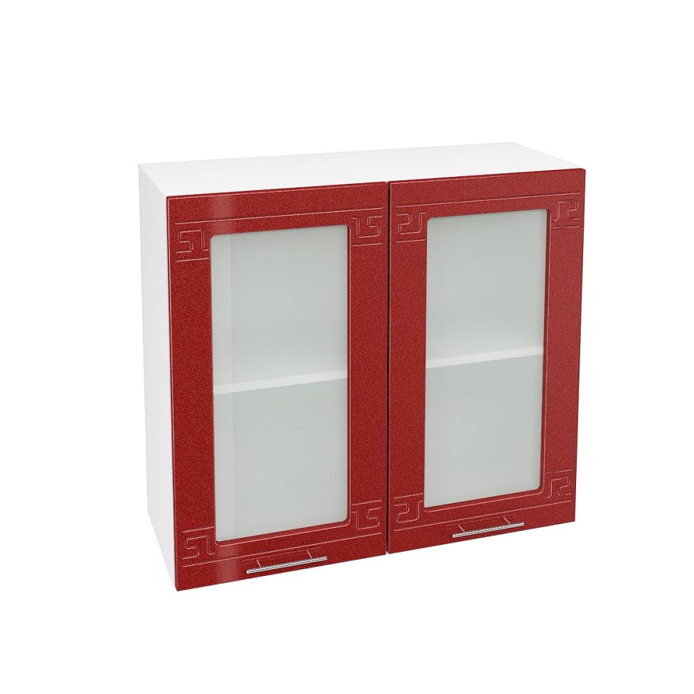 Шкаф верхний со стеклом ШВС 800 ГРЕЦИЯ (Гранатовый металлик) 800 мм