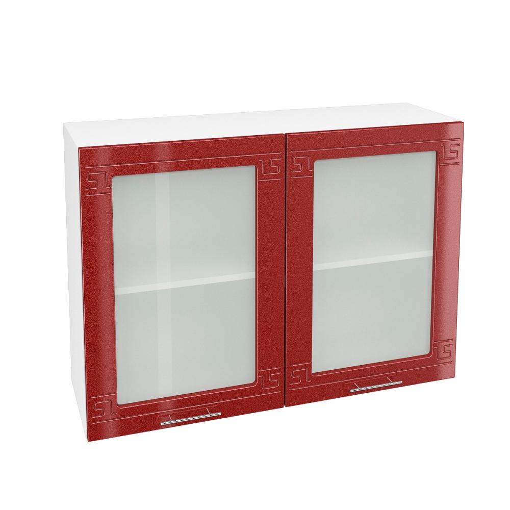 Шкаф верхний со стеклом ШВС 1000 ГРЕЦИЯ (Гранатовый металлик) 1000 мм
