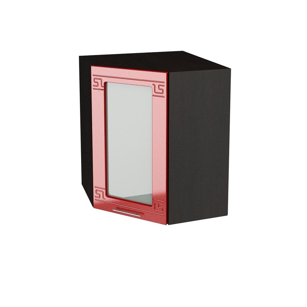 Шкаф верхний угловой со стеклом ШВУС 590 ГРЕЦИЯ (Гранатовый металлик) 590 мм