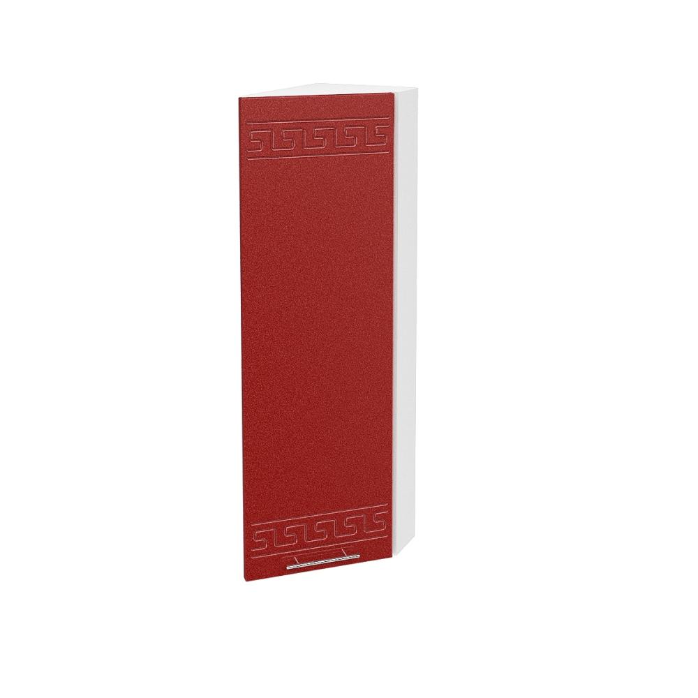 Шкаф верхний угловой торцевой высокий правый ШВТ 224Н ГРЕЦИЯ (Гранатовый металлик) 224 мм