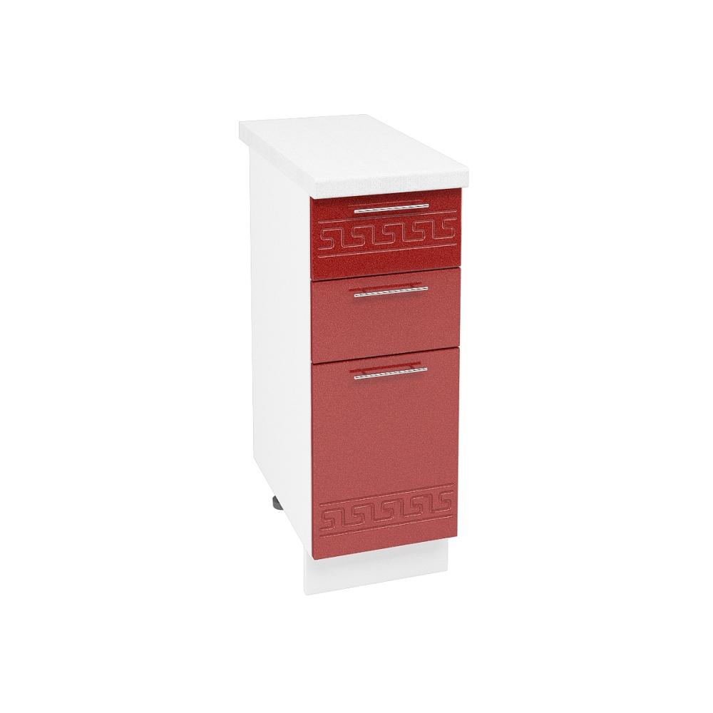 Шкаф нижний с 3 ящиками ШН3Я 300 ГРЕЦИЯ (Гранатовый металлик) 300 мм