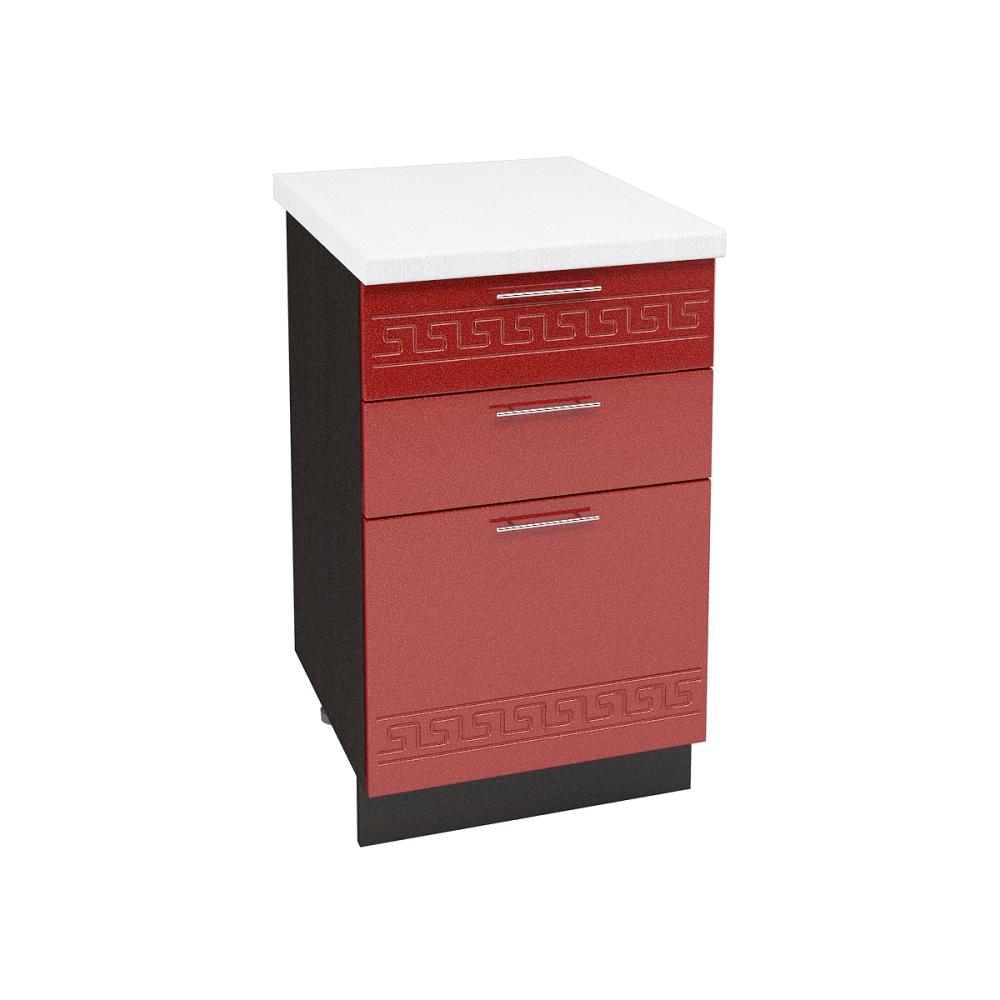 Шкаф нижний с 3 ящиками ШН3Я 500 ГРЕЦИЯ (Гранатовый металлик) 500 мм