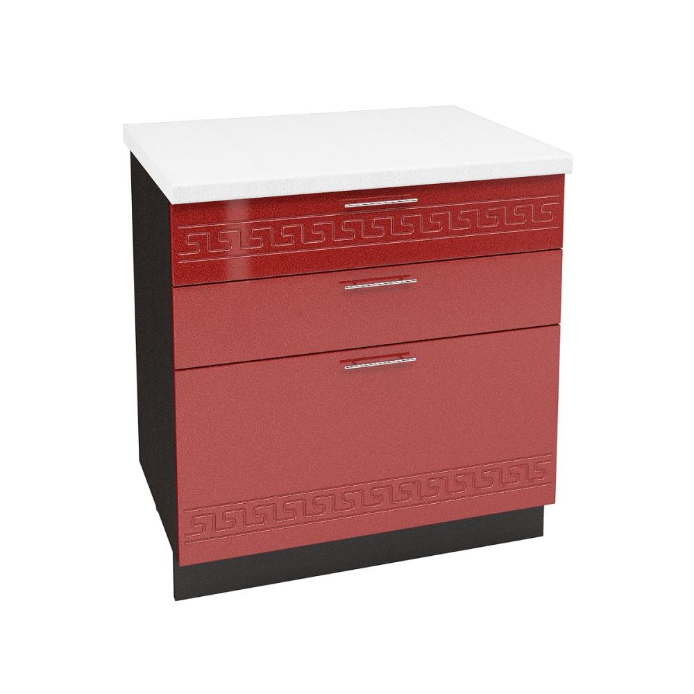 Шкаф нижний с 3 ящиками ШН3Я 800 ГРЕЦИЯ (Гранатовый металлик) 800 мм
