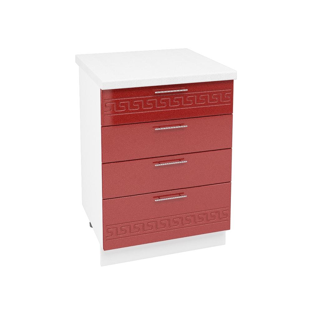 Шкаф нижний с 4 ящиками ШН4Я 600 ГРЕЦИЯ (Гранатовый металлик) 600 мм