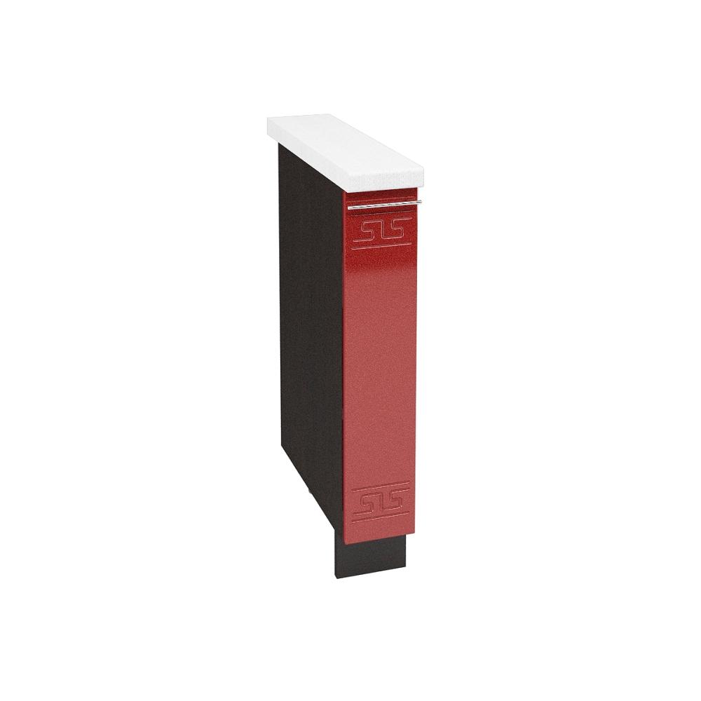 Шкаф нижний бутылочница ШНБ 150 ГРЕЦИЯ (Гранатовый металлик) 150 мм