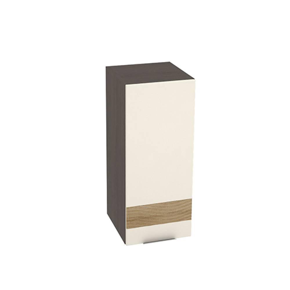 Шкаф верхний высокий с декором ШВ 309 ТЕРРА (Ваниль софт - декор Ель карпатская) 300 мм