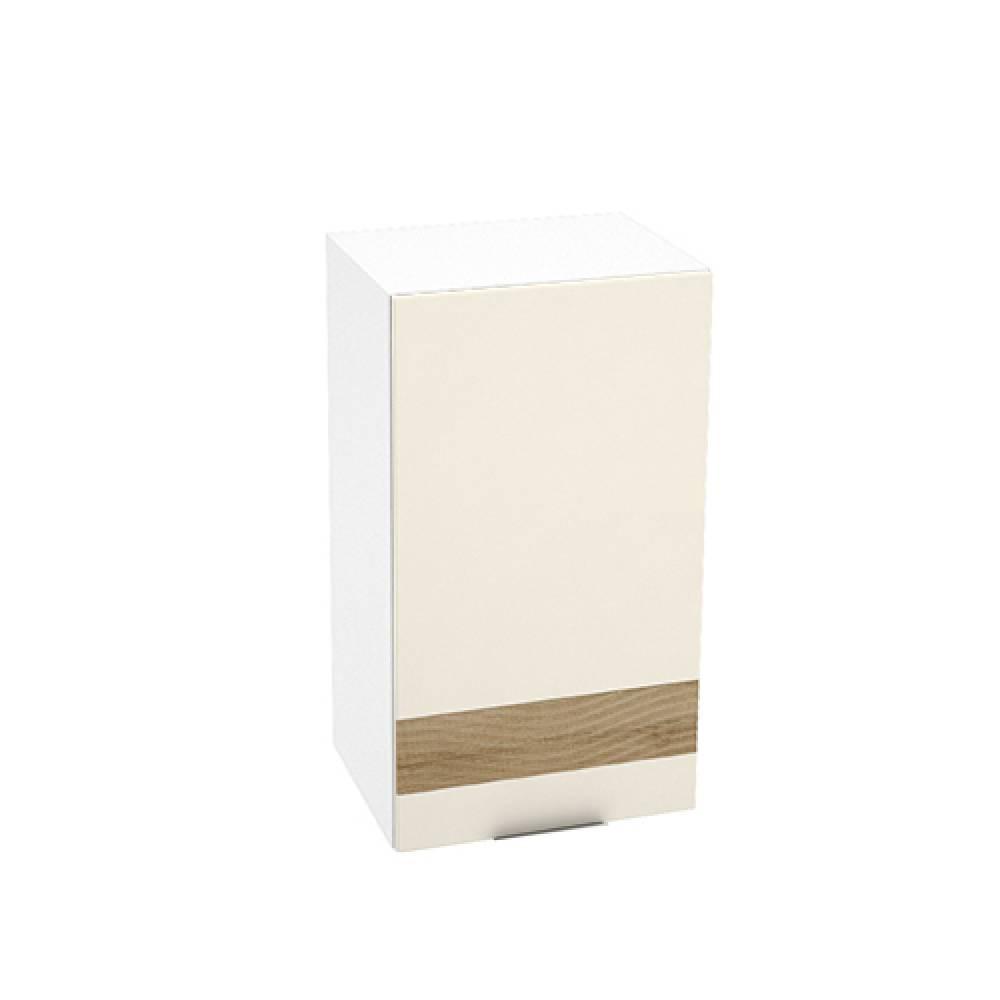 Шкаф верхний с декором ШВ 450 ТЕРРА (Ваниль софт - декор Ель карпатская) 450 мм