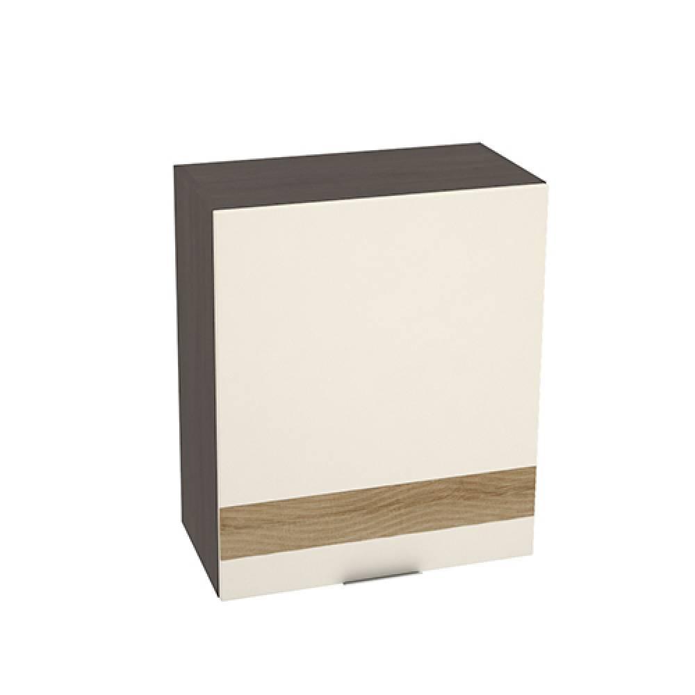 Шкаф верхний с 1 створкой с декором ШВ 600 ТЕРРА (Ваниль софт - декор Ель карпатская) 600 мм