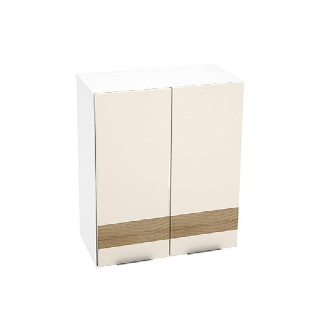Шкаф верхний с 2 створками с декором ШВ 600 ТЕРРА (Ваниль софт - декор Ель карпатская) 600 мм