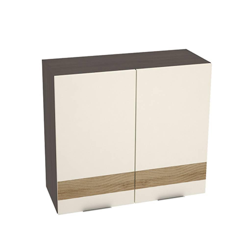 Шкаф верхний с декором ШВ 800 ТЕРРА (Ваниль софт - декор Ель карпатская) 800 мм