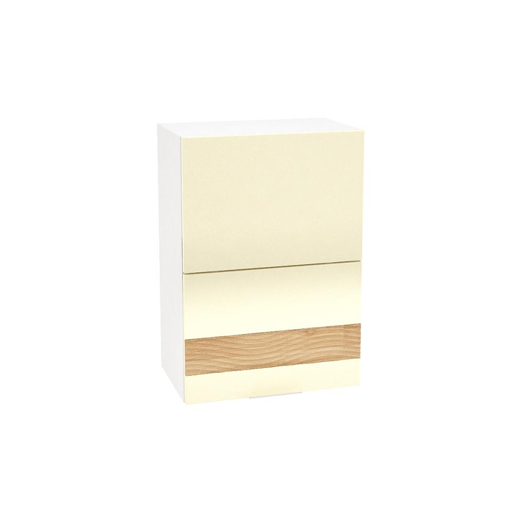 Шкаф верхний горизонтальный с декором ШВГ 501 ТЕРРА (Ваниль софт - декор Ель карпатская) 500 мм