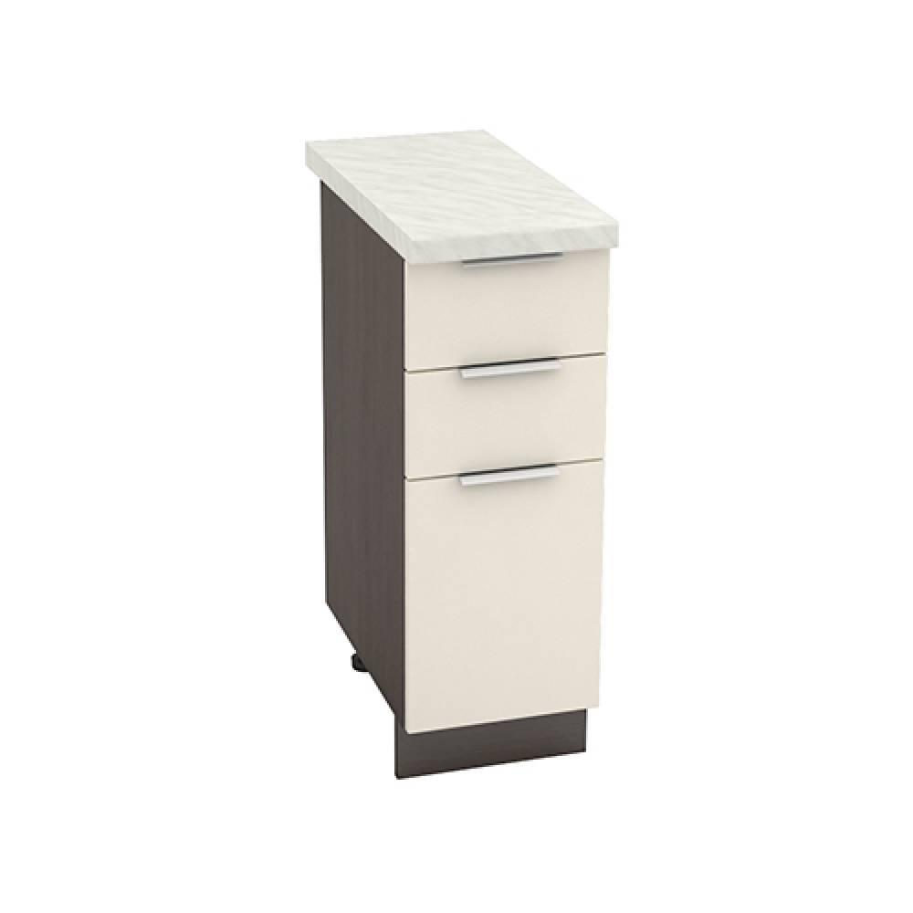 Шкаф нижний с 3 ящиками ШН3Я 300 ТЕРРА (Ваниль софт) 300 мм