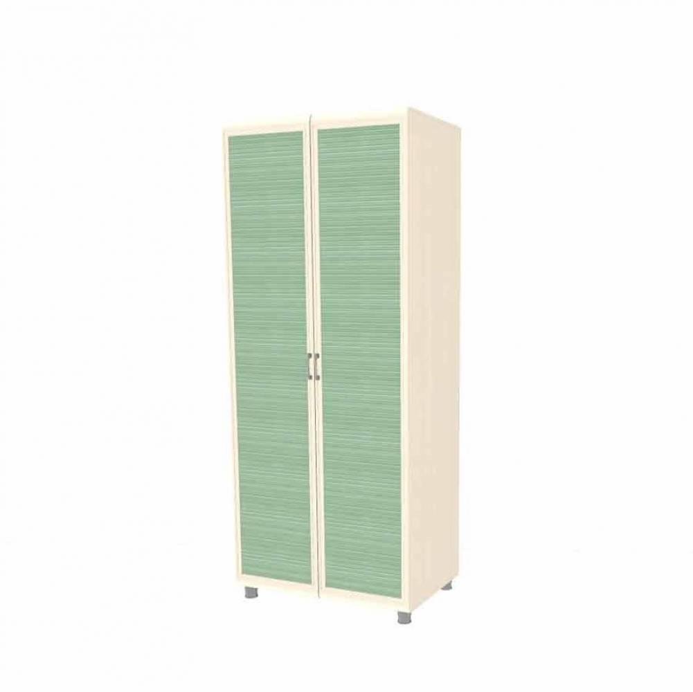 Шкаф для одежды и белья ШК-1808 КСЮША (Дуб Беленый с зелеными вставками)
