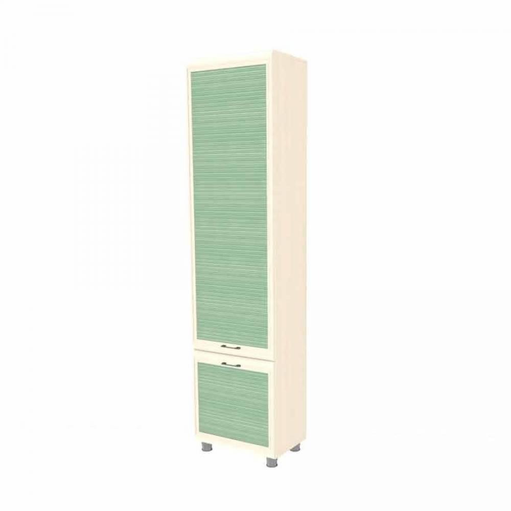 Шкаф многоцелевой ШК-1841 КСЮША (Дуб Беленый с зелеными вставками)