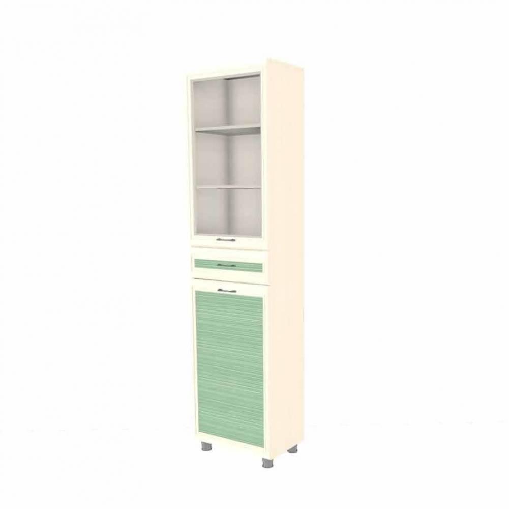 Шкаф многоцелевой ШК-1846 КСЮША (Дуб Беленый с зелеными вставками)
