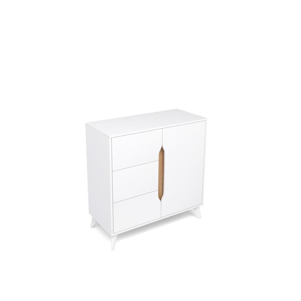 Тумба 3 ящика 1 дверь ПАЛМЕР (Белый Аляска/Дуб Вотан)
