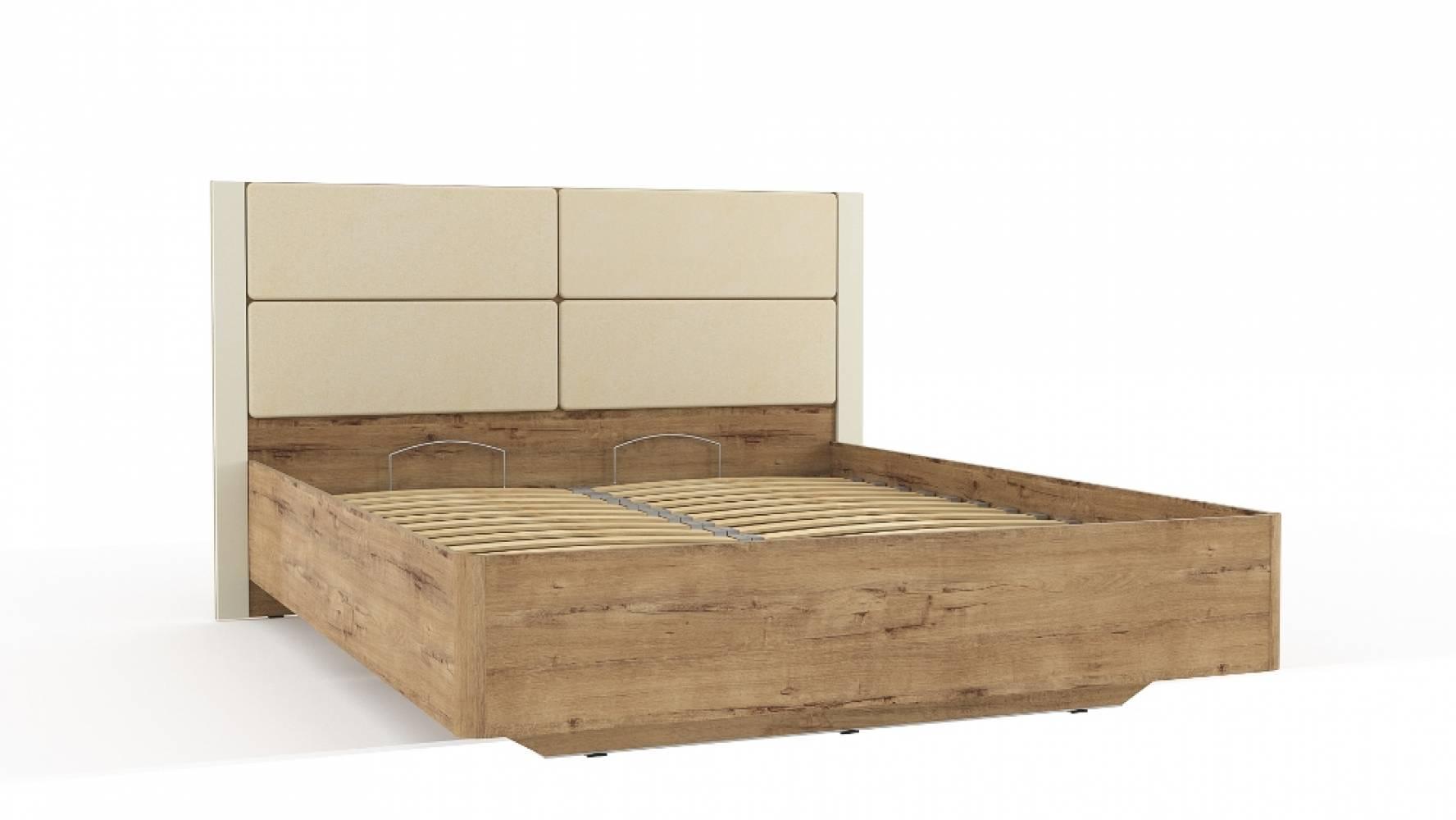 Кровать 1600 НМ 040.52  LIVORNO (Дуб Бунратти/Софт Панакота)
