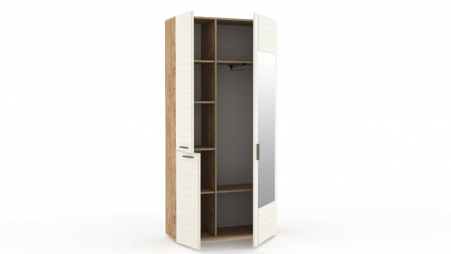 Шкаф для одежды с зеркалом НМ 013.36 LIVORNO (Дуб Бунратти/Софт Панакота)