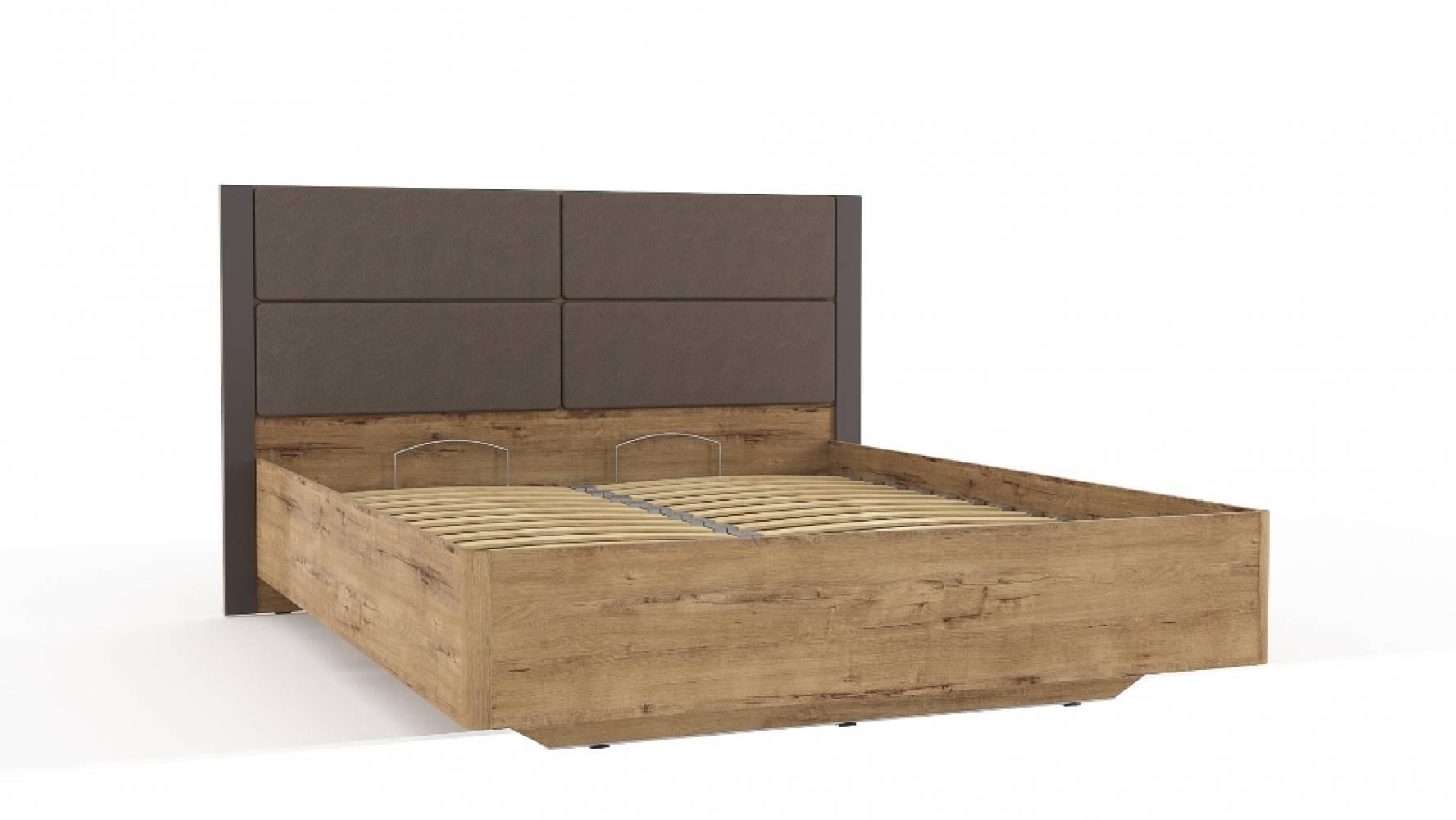 Кровать 1800 НМ 040.52-01  LIVORNO (Дуб Бунратти/Софт Графит)