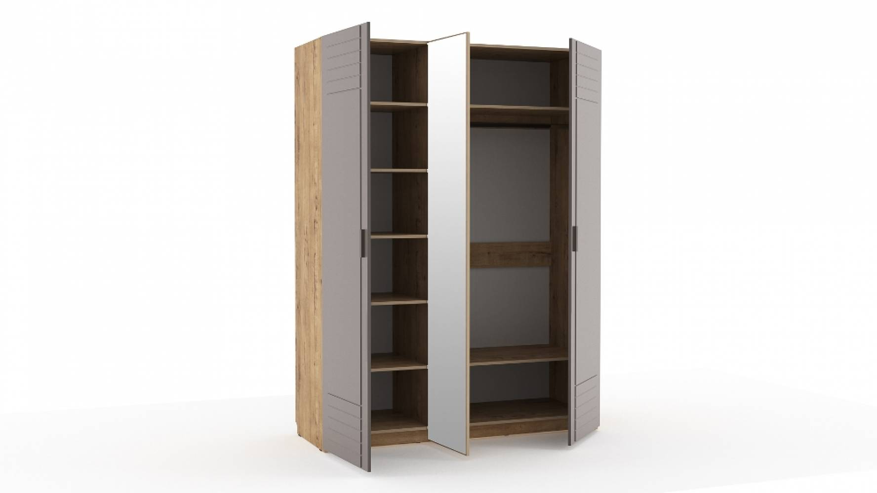 Шкаф комбинированный НМ 013.57 LIVORNO (Дуб Бунратти/Софт Графит)