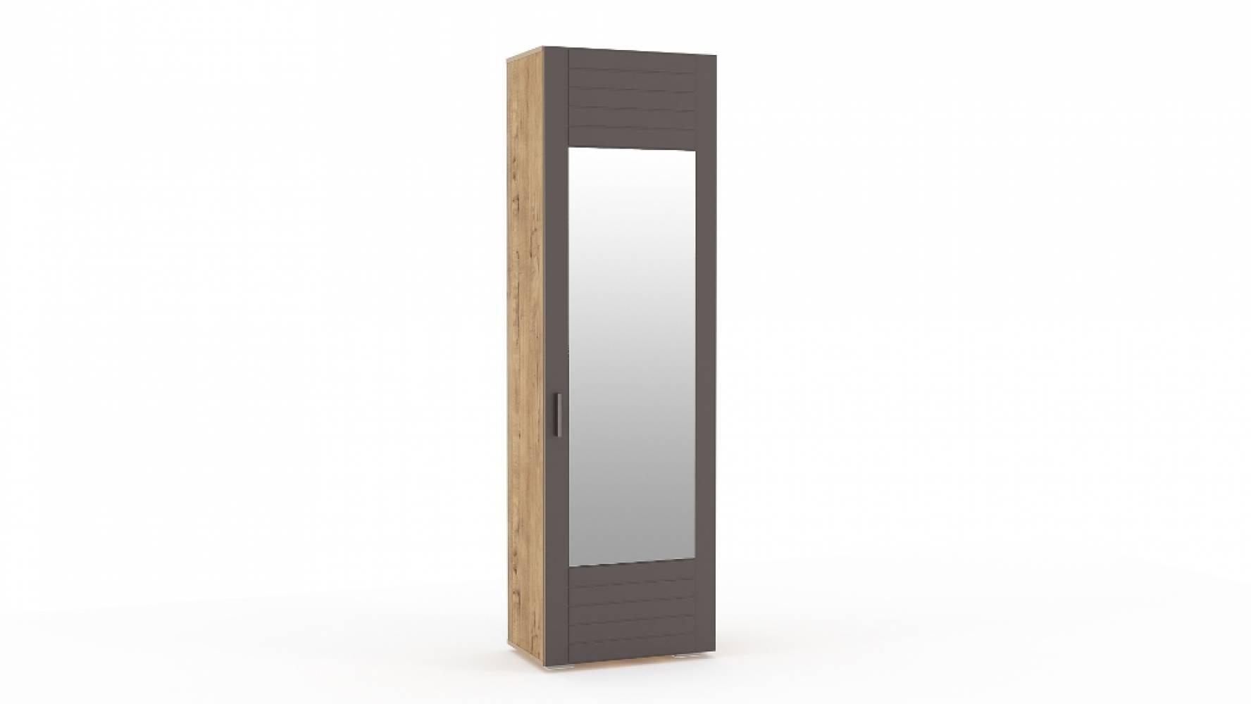 Шкаф для одежды с зеркалом НМ 013.16 LIVORNO (Дуб Бунратти/Софт Графит)