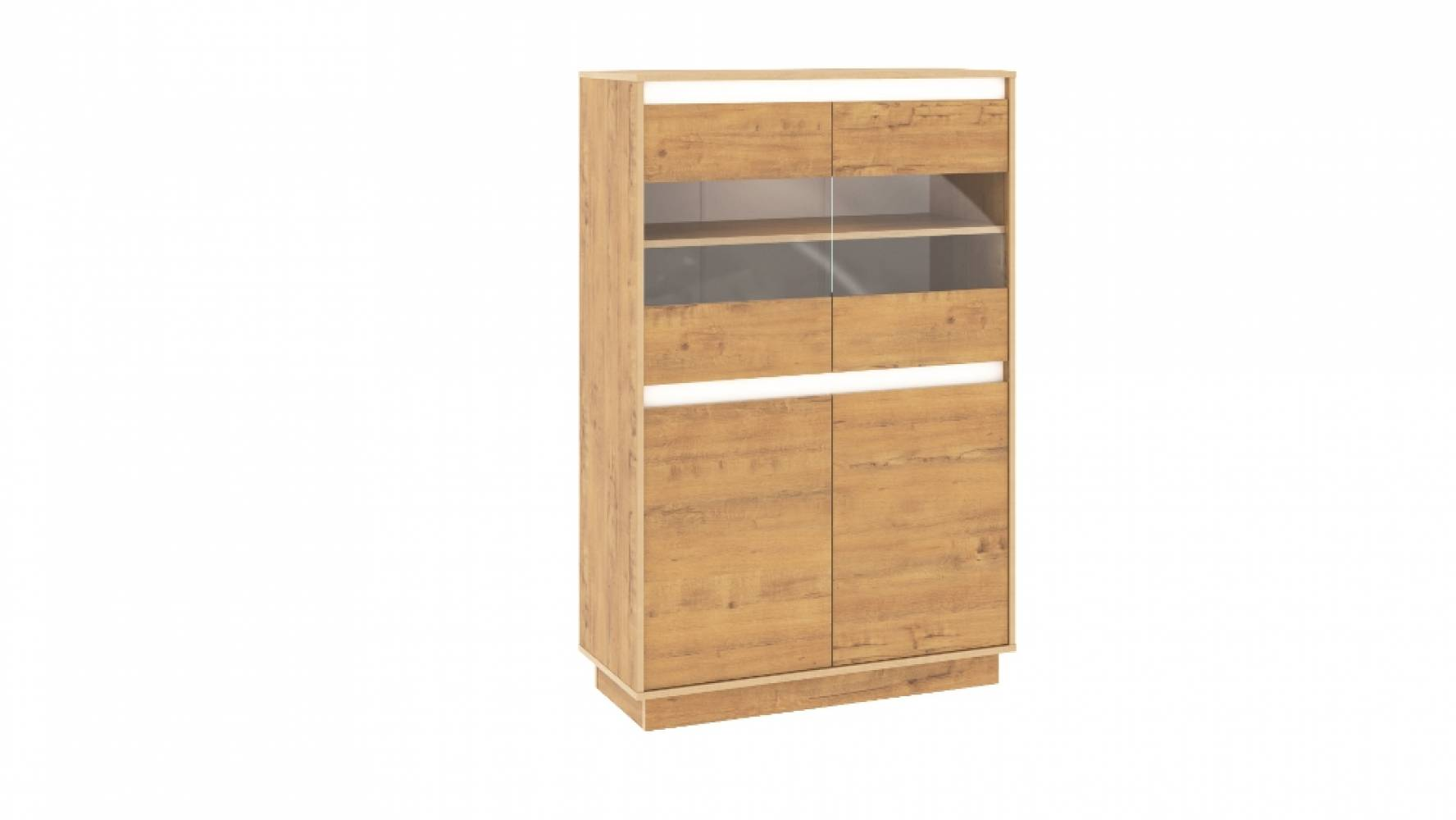 Шкаф для посуды НМ 011.83 VIRGINIA (Дуб Бунратти/Белый Скандинавский)