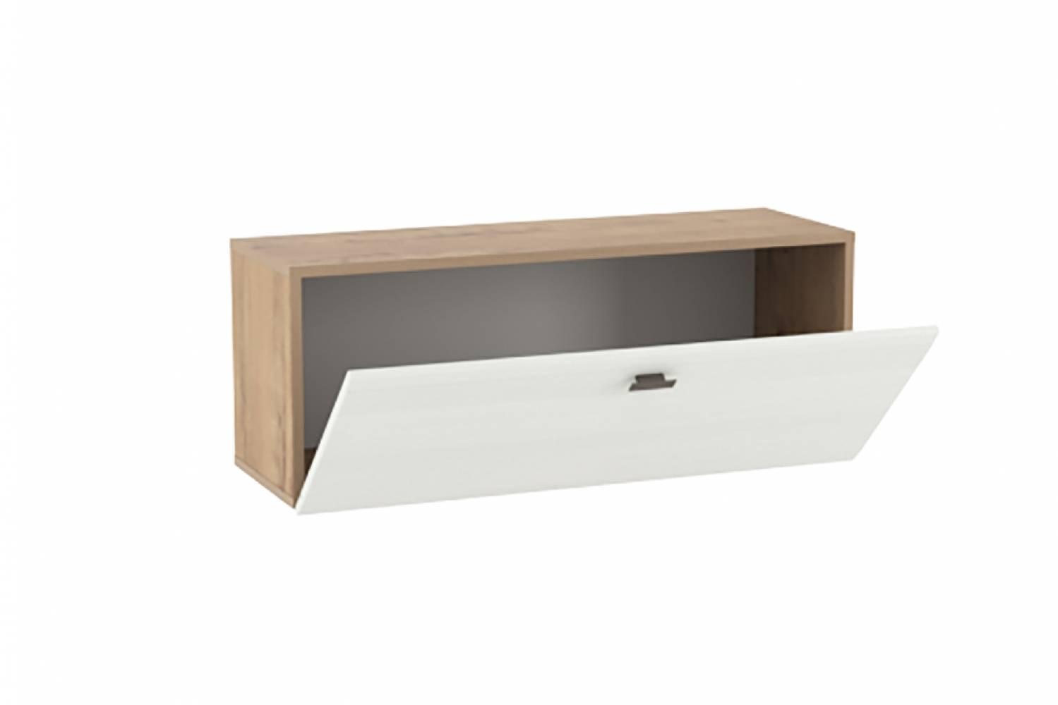 Шкаф навесной (открывание вниз) НМ 014.21-01 SNOW WOOD (Дуб Бунратти/Белое дерево)