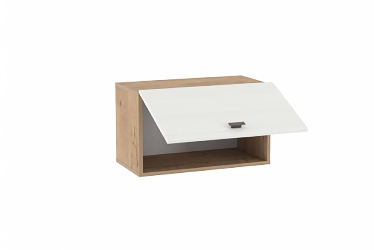 Шкаф навесной (открывание вверх) НМ 014.21-02 SNOW WOOD (Дуб Бунратти/Белое дерево)