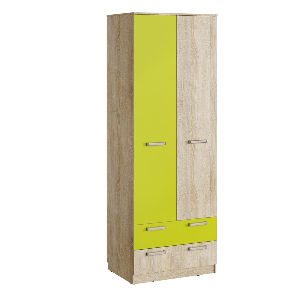 Шкаф для одежды с ящиками НМ 013.02-03 М АКВАРЕЛЬ (Дуб Сонома/Лайм)