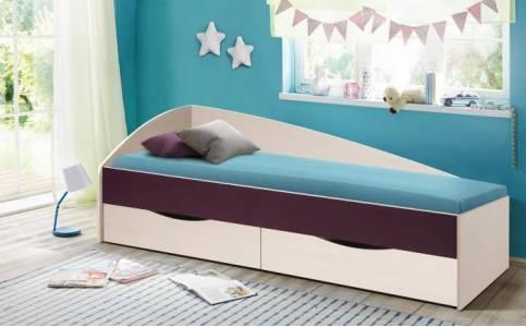 Кровать 800х1900 ФЕЯ - 3 асимметричная (Вудлайн кремовый/Баклажан) Олмеко