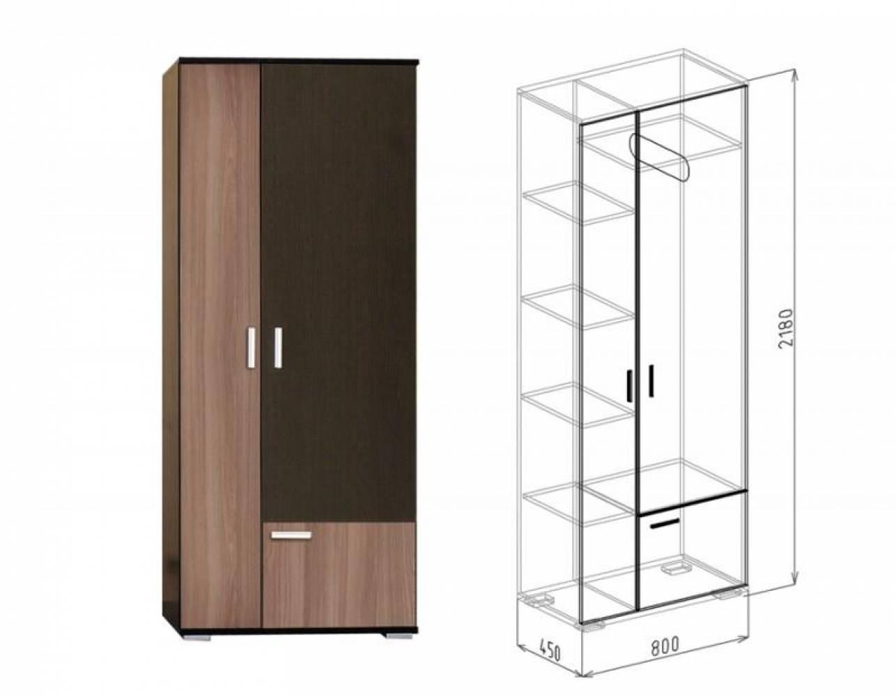Шкаф 2-дверный №3 СТАТУС (ясень шимо темный)