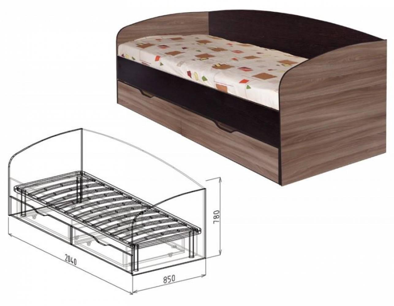 Кровать 800 с ящиками №24 СТАТУС (ясень шимо темный)