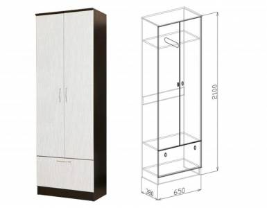 Шкаф 2-дверный СОФИЯ (белый дым)
