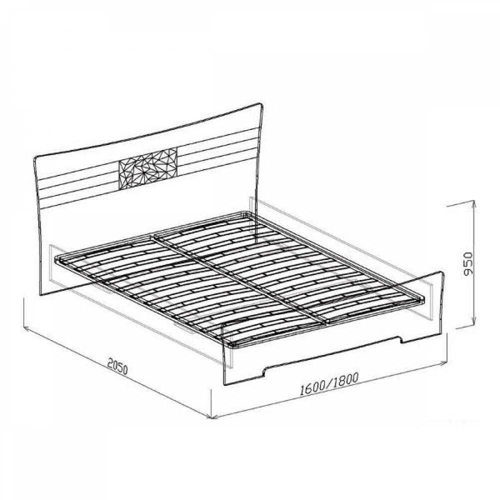 Кровать 1600 АТЛАНТИДА (белый глянец)