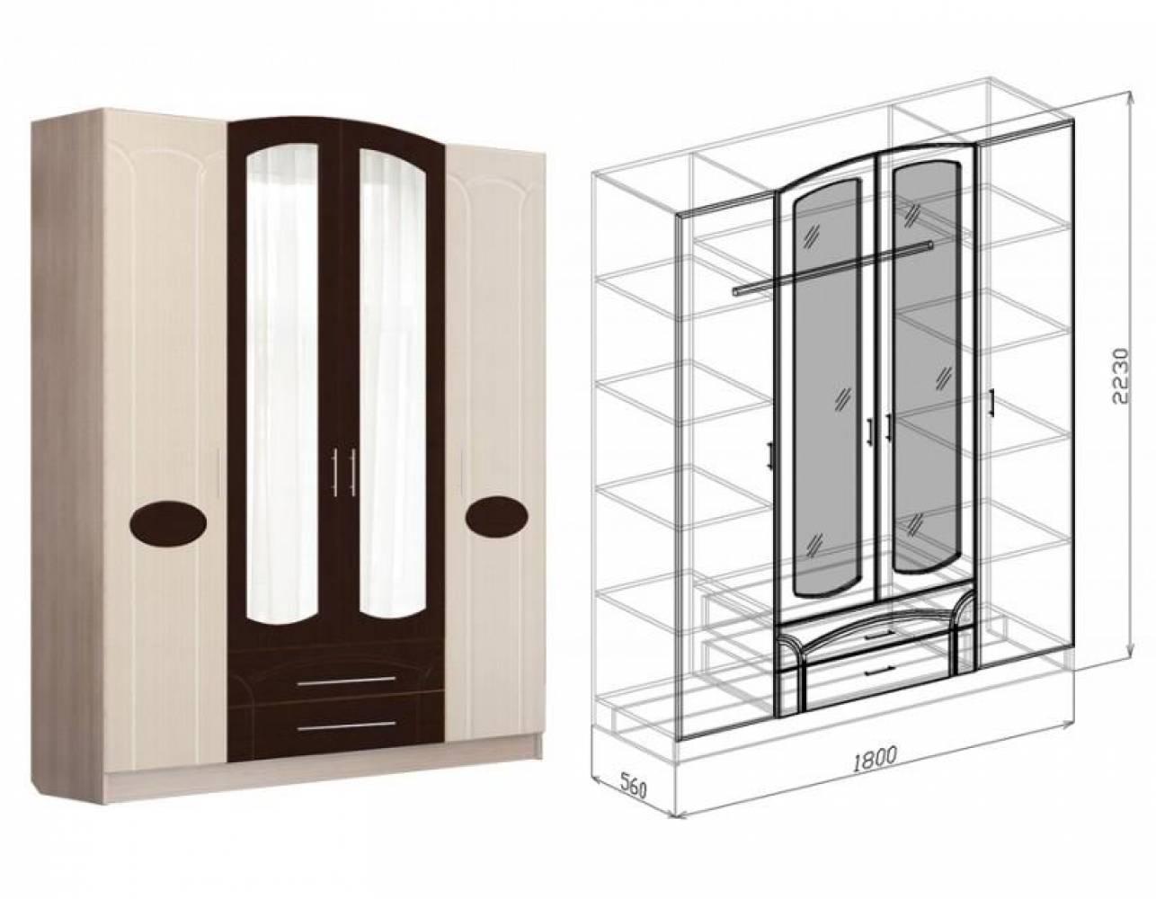 Шкаф 4-дверный МАРТА (дуб светлый)