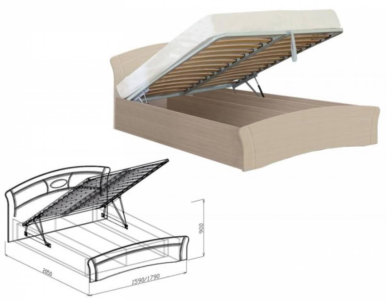 Кровать 1400 с подъемным механизмом МАРТА (дуб светлый)