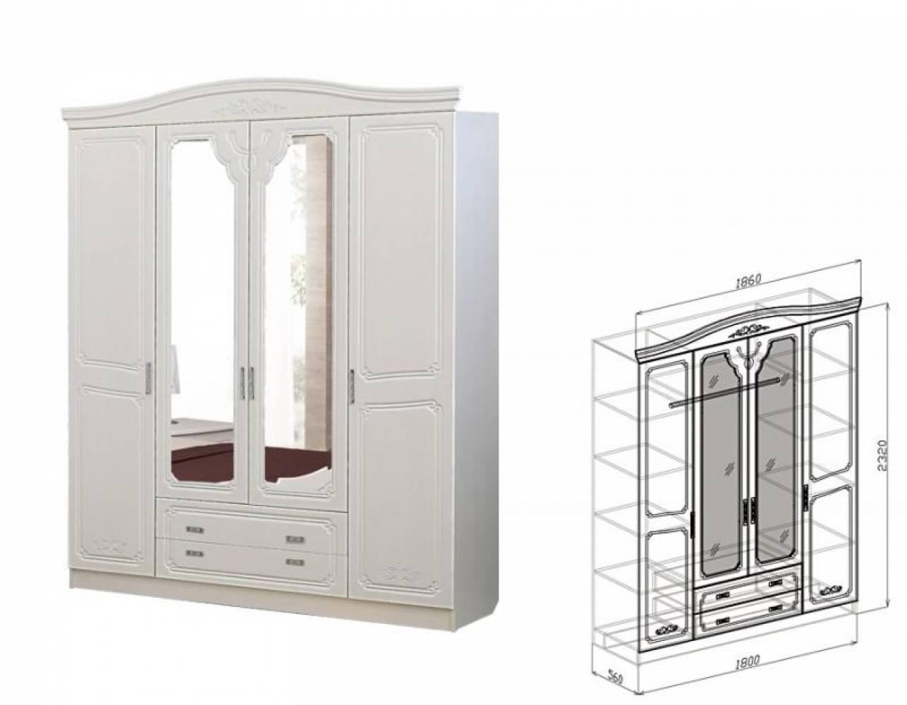 Шкаф 4-дверный ЕВА (рельеф пастель)
