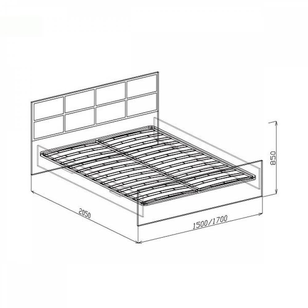 Кровать 1600 ПАЛЕРМО (белый дым)