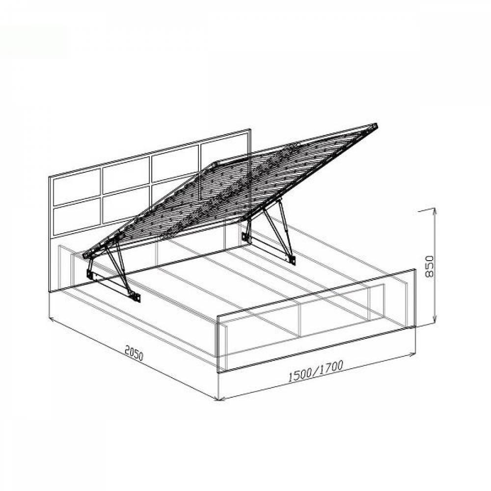 Кровать 1600 с подъемным механизмом ПАЛЕРМО (белый дым)