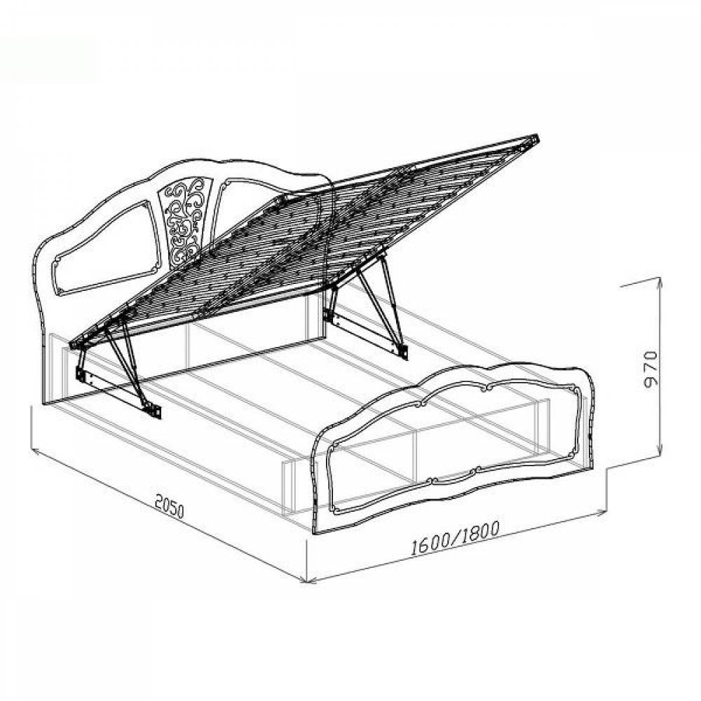 Кровать №2 1400 с подъемным механизмом ТИФФАНИ (рельеф пастель)